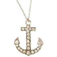 Anchor Necklace with Swarovski Stones In Crystal with Silver Finish: Cora Hysinger: Jewelry