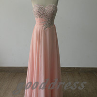 2013 sexy pink sweetheart crystal beaded ruched chiffon floor length formal bridesmaid dress evening prom party dresses gowns