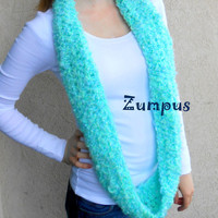 Blue Green Women's Infinity Scarf- Handmade- Winter Fashion- Ready to Ship