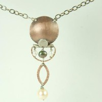 Necklace Mixed Metal Pearls Copper Sterling Silver by ExCognito