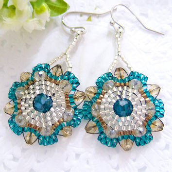 Bohemian Teal Flower Earrings Beaded in Silver by JeannieRichard
