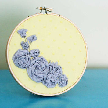 Yellow and grey floral embroidery hoop home by makenziandmadilyn