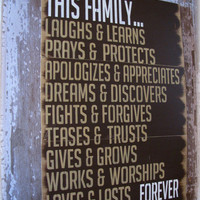 This Family Loves Antiqued Plank Typography In Espresso Brown