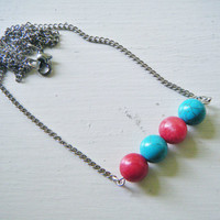 Horizontal Red And Turquoise Beaded Necklace