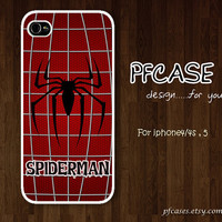 Black Spiderman on the cobweb with red Pattern : Handmade Case for Iphone 4/4s , Iphone 5 Case Iphone