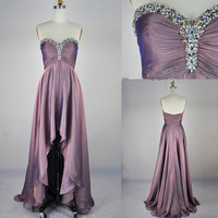 2013 A Line Strapless Sweetheart With Crystal Front Short Long Back Chiffon Prom Evening Dresses
