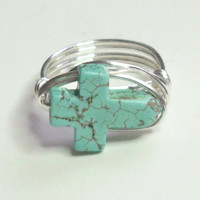 Sideways Cross Ring Silver Turquoise Wire Wrapped Ring