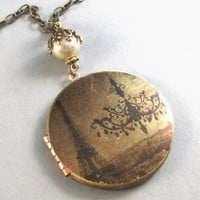 LolaVintage Brass Locket Necklace Art Locket by valleygirldesigns