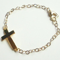 Sideways Cross Gold Heart Bracelet