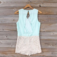 Sea Crystal Romper in Mint, Sweet Women's Bohemian Clothing