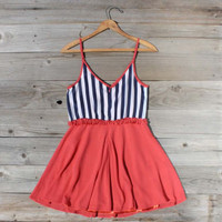 Awning Stripe Dress in Red, Sweet Women&#x27;s Country Clothing