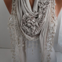 Light Gray Jersey Rose Shawl/ Scarf - Headband -Cowl with Lace Edge- DIDUCI
