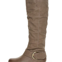 Yoki Axxle Beige Slouchy Riding Boots