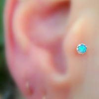 Tragus/Nose Ring/Cartilage Earring Sterling Silver Opal Stud