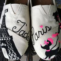 J'adore Paris Custom Toms by 123ShoesByMe on Etsy