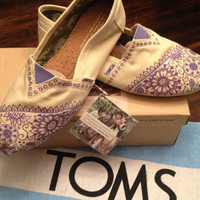 Custom Hand Painted Purple Mehndi Toms  by EvalynnJamesDesigns