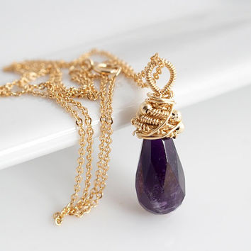 Amethyst Pendant Necklace Wire Wrapped Necklace by Jewels2Luv