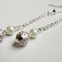 Pearl dangle earrings fancy hollow silver by handmadeintoronto