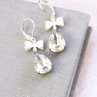 Crystal Earrings, Vintage Clear Glass, Silver Bow, Dangle Earrings, Old Hollywood, Rhinestone, Leverback, Wedding Jewelry, Bridal