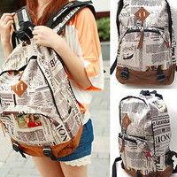 WOMENS BACKPACKS Newspaper Vintage SCHOOL BAG FASHION CANVAS BOOK BAG Rucksack