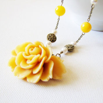 Spring mustard yellow flower necklace from twigsandlace on for Mustard colored costume jewelry
