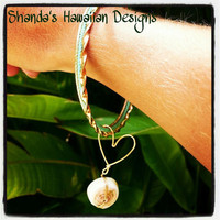 Wire Heart Seashell Mint Gold Bangle Bracelet