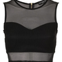Petite Rib Panel Mesh Crop Top - Going Out  - New In