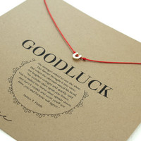 Lucky Horseshoe Necklace : Tiny, Delicate Gold Plated Horseshoe Necklace on Natural Red Silk Cord, Artisan Tree, Bohemian, Good Luck
