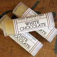 White Chocolate Lip Balm - One Tube Beeswax Shea Cocoa Butter Jojoba
