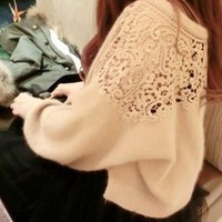 New Japanese Ladies Pretty Soft Trendy Lace Cutout Sweater Jumper Shirt Top 