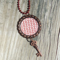 Hugs and Kisses Bottle Cap Charm Necklace