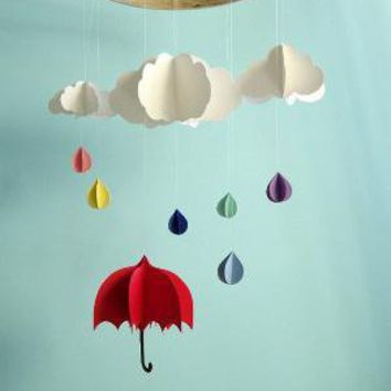 Red Umbrella  3D Mobile by goshandgolly on Etsy