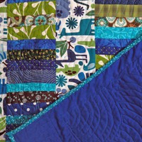 Handmade Baby Boy Quilt in Blue Green Jungle Animal Print | GracefulArts - Quilts on ArtFire