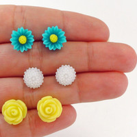 Flower Earrings Stud Set / Rose, Daisy, Mums / Blue Yellow White / Resin Floral Posts