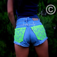 High waisted lace shorts,lace cut off shorts by Jeansonly