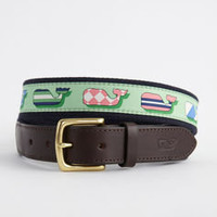 Men&#x27;s Belts: Silk Whales Canvas Club Belt for Kentucky Derby -Vineyard Vines