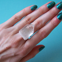 Raw Crystal Quartz Ring by VictoryJewelry