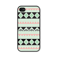 Geometric Apple iPhone 4 Case - Plastic iPhone 4 Cover - Tribal Southwest iPhone 4 Skin - Mint Green Black Pink Coral Peach Cell Phone