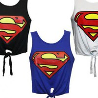 SUPERMAN SEXY CROP TIE TOP