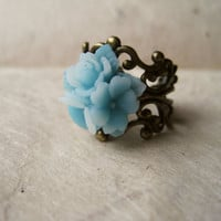 Mint Blue Star Flower Ring by PiggleAndPop