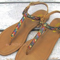 Rockland Tan Tribal Knit Ankle Sandals