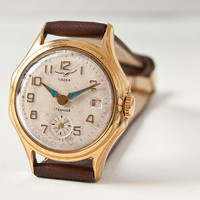 Unisex watch Chaika/Vostok gold cocoa tones Soviet by SovietEra