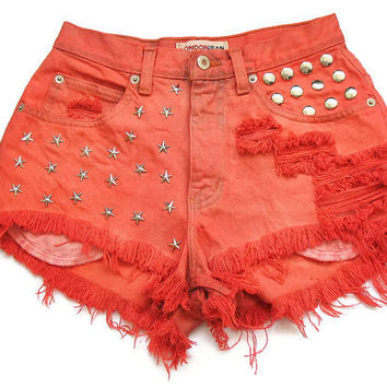 Studded high waisted shorts XS by deathdiscolovesyou on Etsy