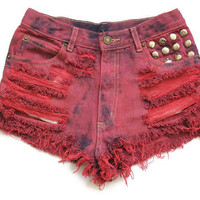 Cherry red high waisted denim shorts XS by deathdiscolovesyou