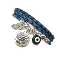 Blue Braided Leather Wrap Bracelet with Protective Charms by charmeddesign1012