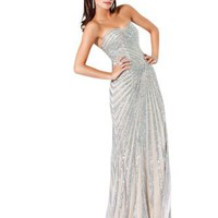Amazon.com: Jovani 4343 Silver/Nude Evening Gown Dress Prom Formal 6 New: Clothing