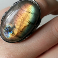 Rainbow Ring, Labradorite, Natural Stone, Green, Coral, Pink, Orange, Sterling Silver, Handmade Statement Jewelry