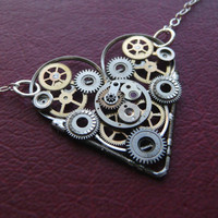 Clockwork Heart Necklace Tock by amechanicalmind on Etsy