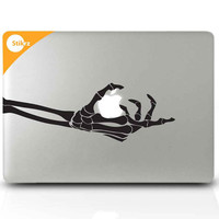 Macbook Decal Sticker for your computer, laptop, board, or wall - skeleton hand goth - Just One Bite 221