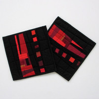 Modern Pot Holders, Black Potholders, Red and Black, Quilted Hotpads